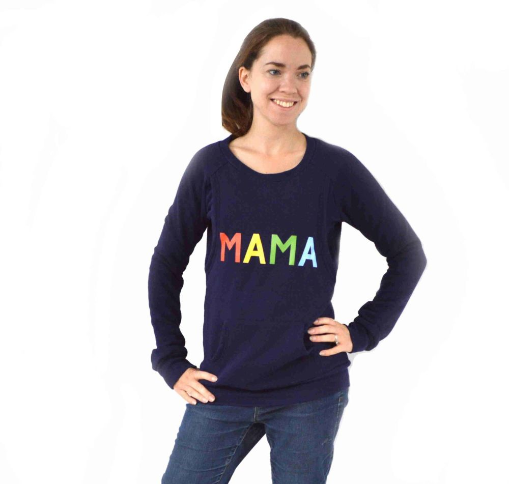 <!-- 022 -->Mama print breastfeeding sweater in rainbow