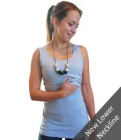 <!-- 041 -->Breastfeeding Vest - Grey  with a lower neckline