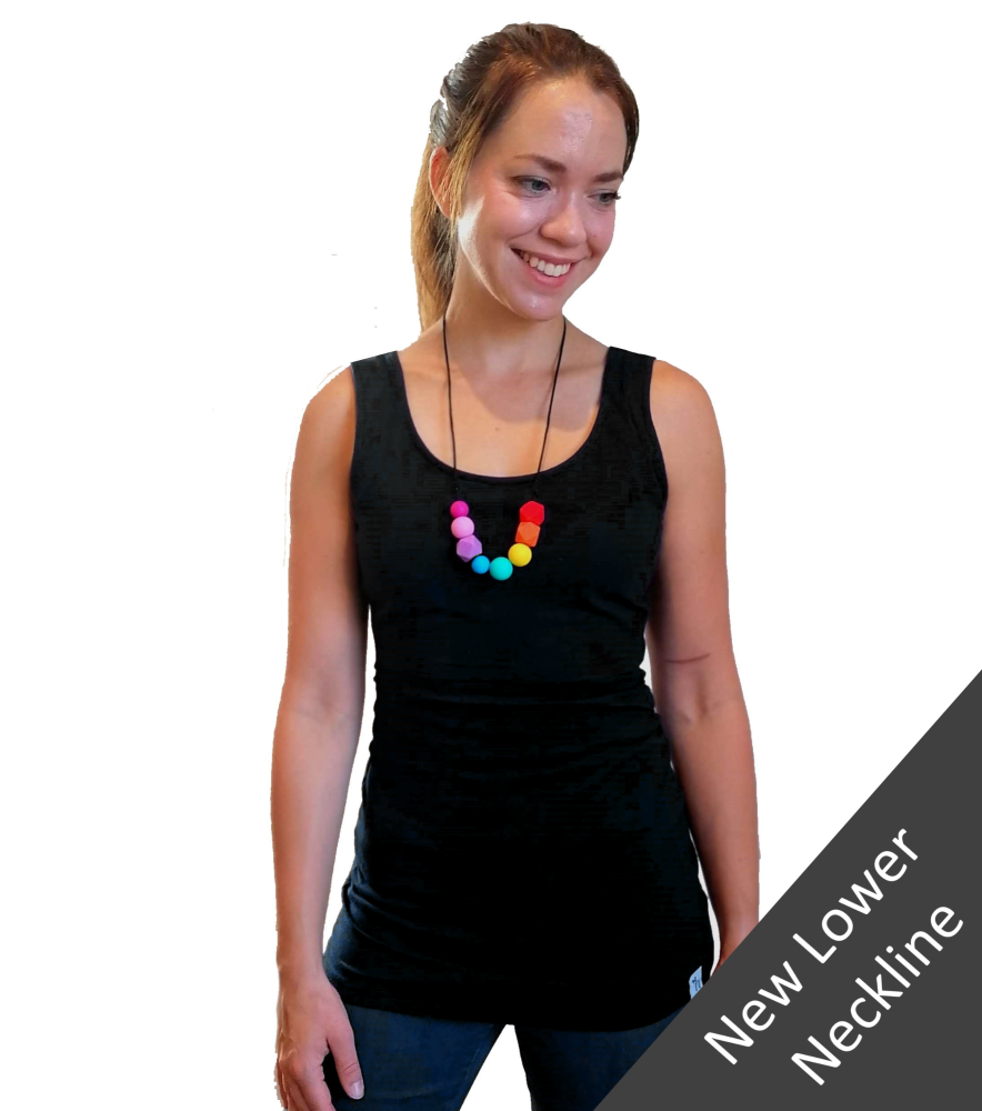 <!-- 040 -->Breastfeeding Vest - Black with lower neckline