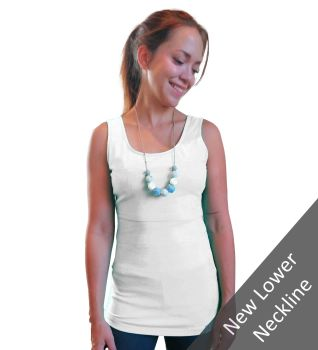 Breastfeeding Vest - White with a lower neckline