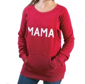 Mama print breastfeeding sweater in burgundy