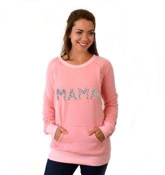 Mama print breastfeeding sweater in pink leopard