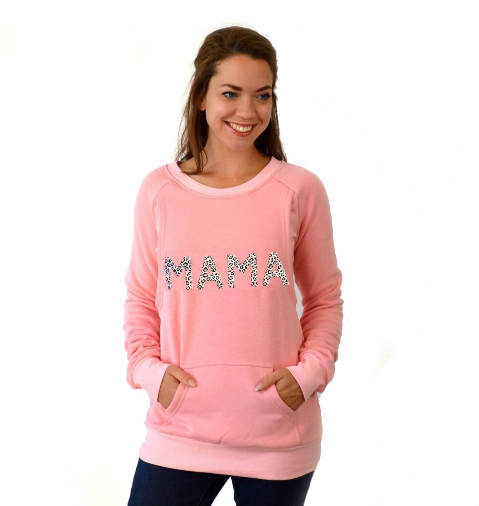 <!-- 024 -->Mama print breastfeeding sweater in pink leopard