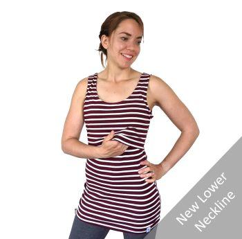 Breastfeeding Vest - Burgundy Stripe
