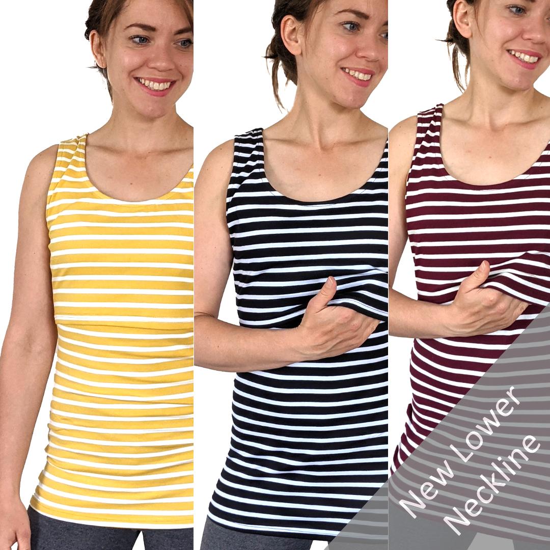 <!-- 048 -->Breastfeeding Vest - Burgundy, Yellow Black Stripe Multipack of