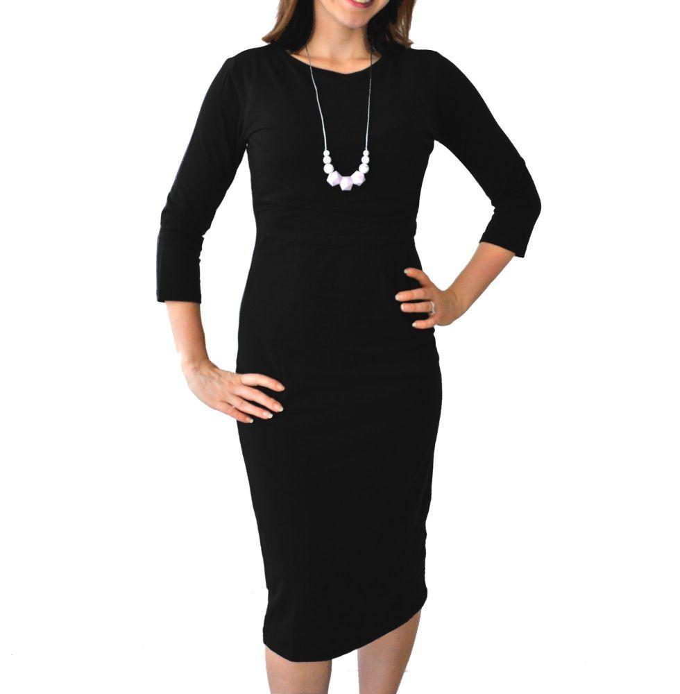 <!-- 108 -->Midi Breastfeeding Dress in Black