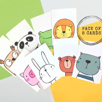Cartoon Animal Cards - Set of 8