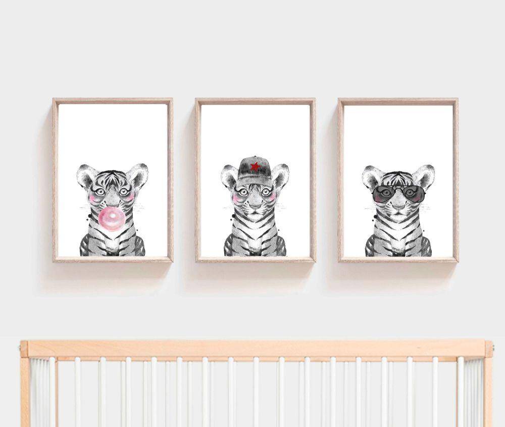 <!-- 055 --> Nursery Prints - Tiger Trio