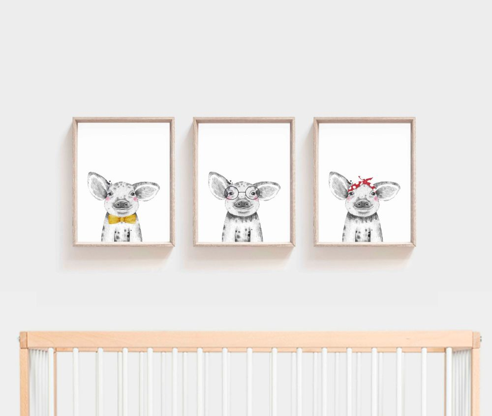 <!-- 056 --> Nursery Prints - Pig Trio