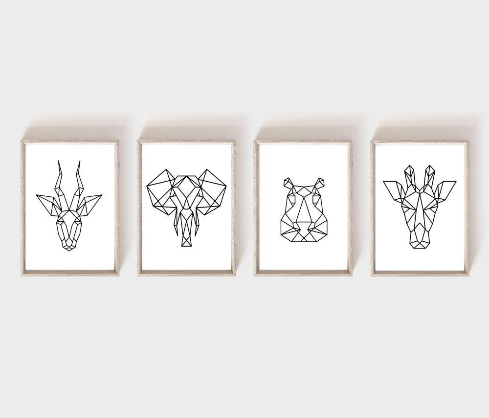 <!-- 054 --> Nursery Prints - Geometric Animals