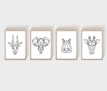 Nursery Prints - Geometric Animals