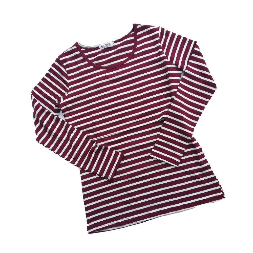 <!-- 031 --> Long sleeved breastfeeding top - Burgundy with cream stripe
