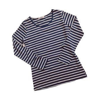 Long sleeved breastfeeding top - Dark navy with white stripe
