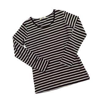 Long sleeved breastfeeding top - Black with cream stripe