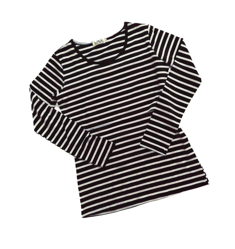 <!-- 030 --> Long sleeved breastfeeding top - Black with cream stripe