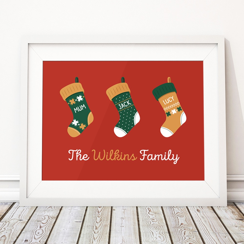 Stockings Christmas Family Home Personalised Print
