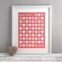 Stacked Hearts Personalised Wedding Guest Book Print Alternative