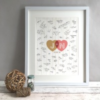 Rustic Hearts Personalised Wedding Guest Book Print Alternative