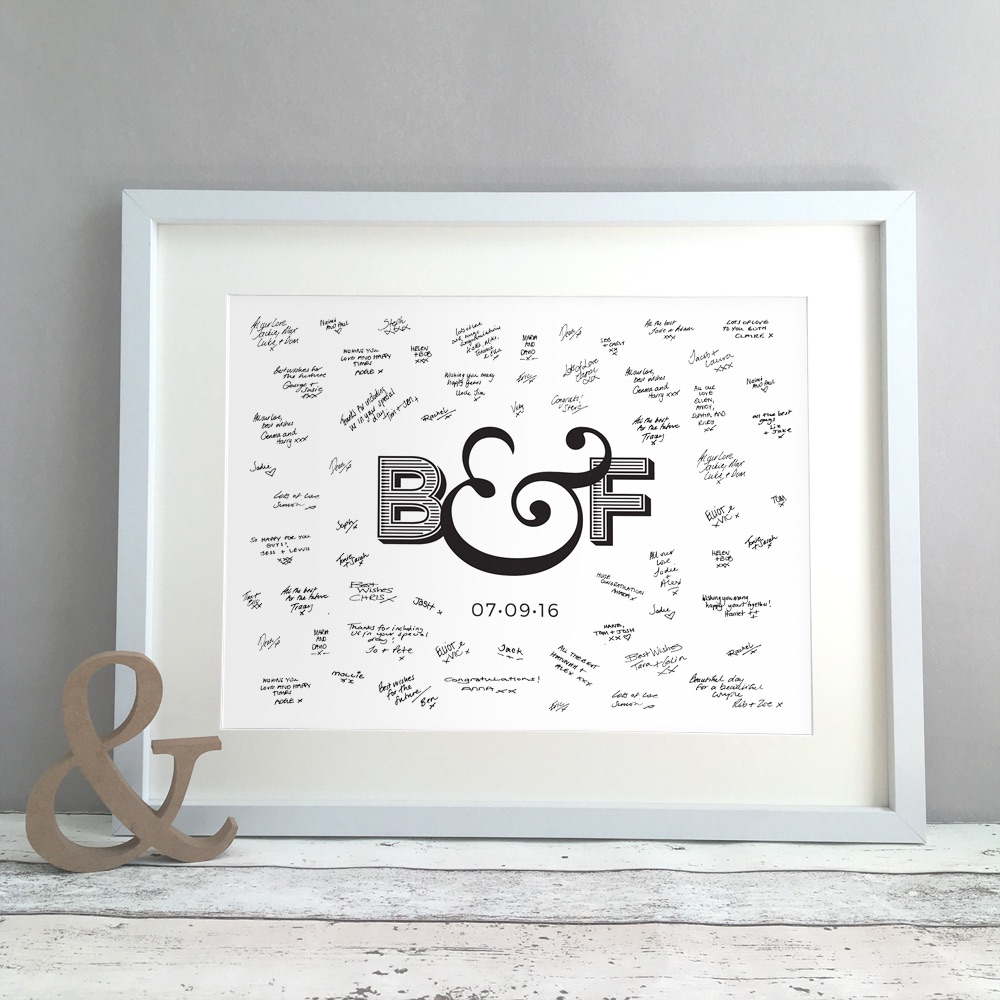 Ampersand Personalised Wedding Guest Book Print Alternative