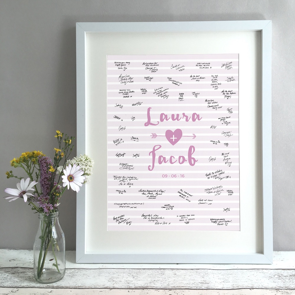 Arrow Stripes Personalised Wedding Guest Book Print Alternative