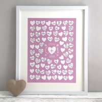 Arrow Hearts Personalised Wedding Guest Book Print Alternative