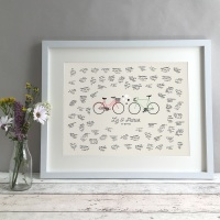 Bikes Personalised Wedding Guest Book Print Alternative