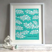 Bird Tree Personalised Wedding Guest Book Print Alternative