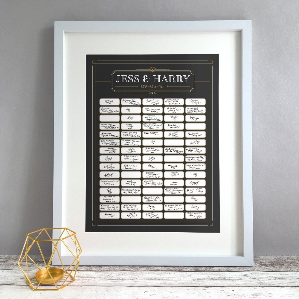 Art Deco Personalised Wedding Guest Book Print Alternative