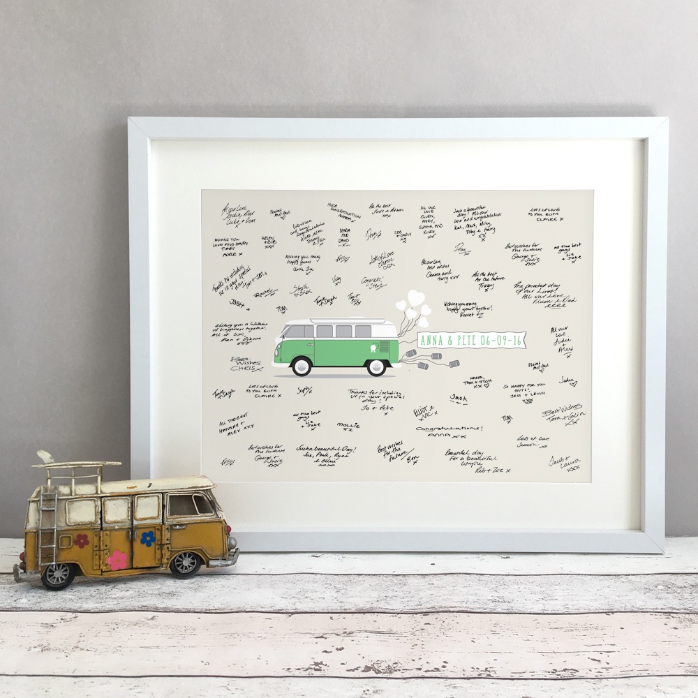 Campervan Personalised Wedding Guest Book Print Alternative