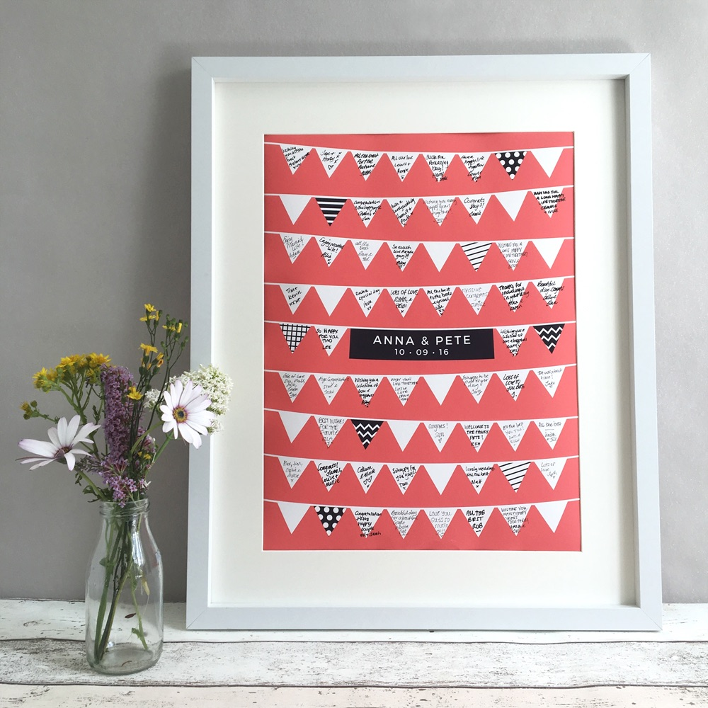 Bunting Personalised Wedding Guest Book Print Alternative