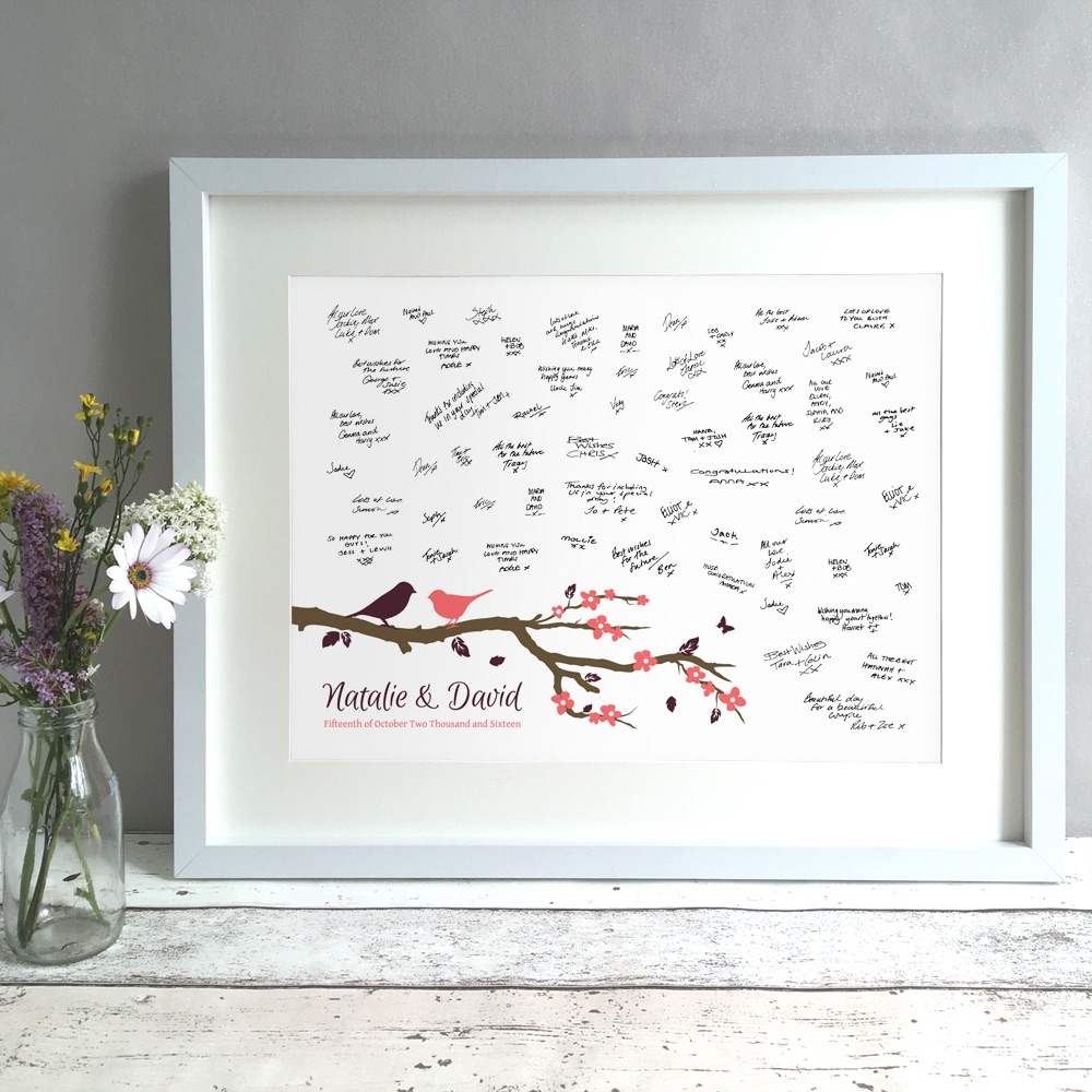 Birds On A Branch Personalised Wedding Guest Book Print Alternative