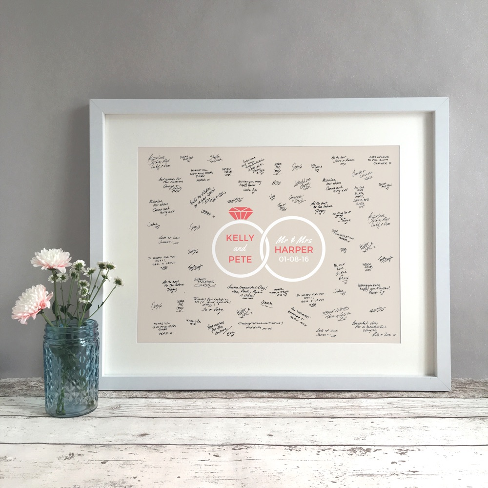 Rings Personalised Wedding Guest Book Print Alternative