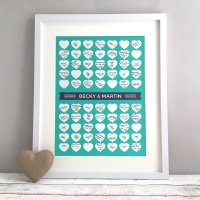 Heart Strings Personalised Wedding Guest Book Print Alternative