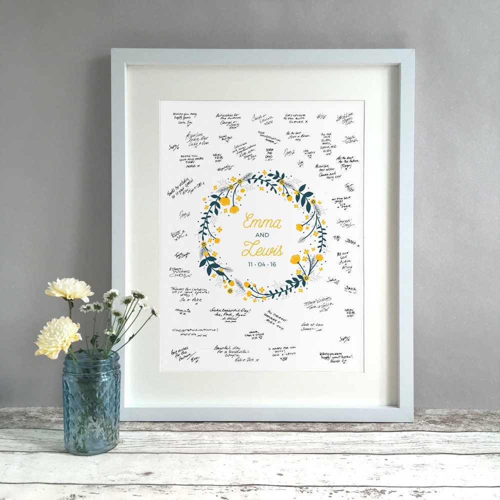 Floral Ring Personalised Wedding Guest Book Print Alternative