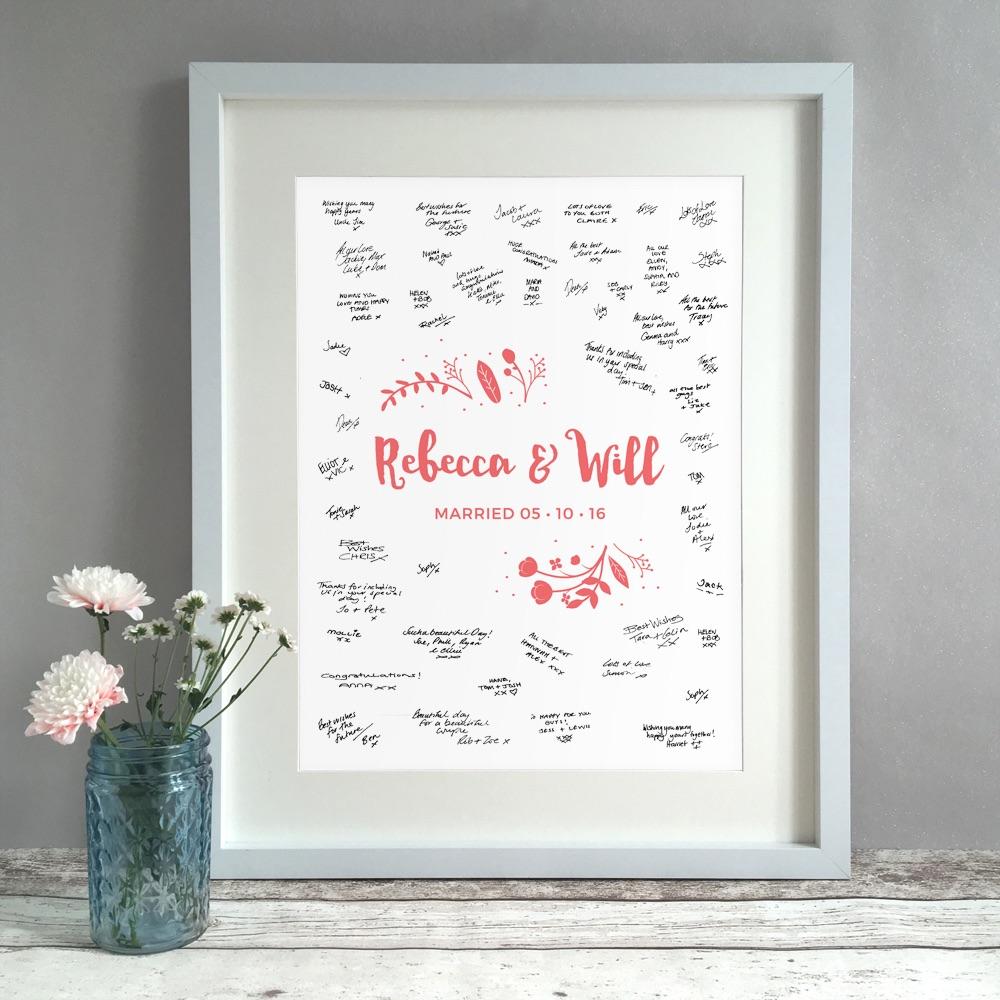 Leafy Floral Personalised Wedding Guest Book Print Alternative