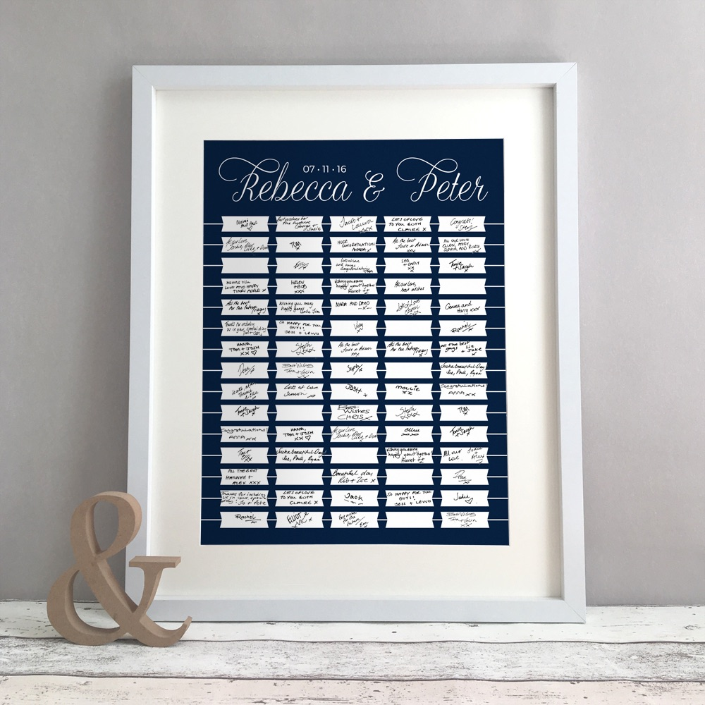 Flags Personalised Wedding Guest Book Print Alternative