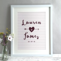 Arrow Stripes Personalised Wedding Gift Print