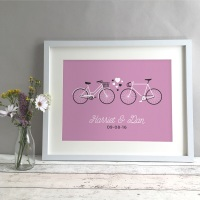 Bikes Personalised Wedding Gift Print
