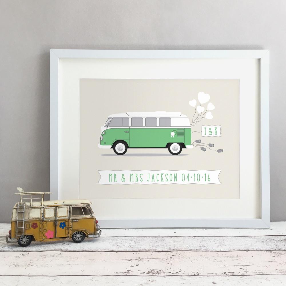 Campervan Personalised Wedding Gift Print