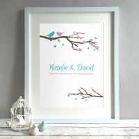 Birds On A Branch Personalised Wedding Gift Print