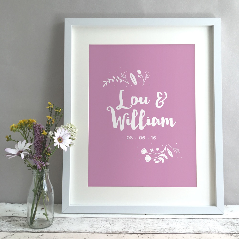 Leafy Floral Personalised Wedding Gift Print
