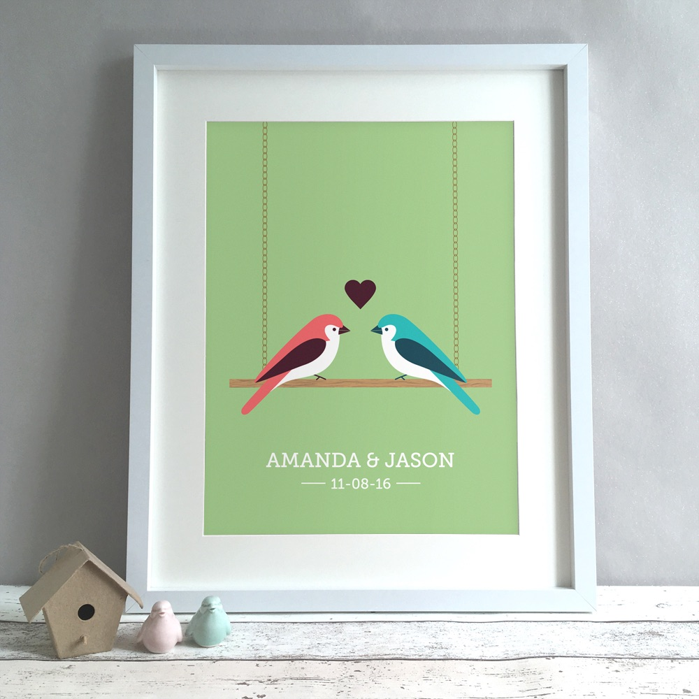 Love Birds Personalised Wedding Gift Print