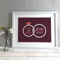 Rings Personalised Wedding Gift Print