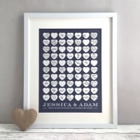 Traditional Hearts Personalised Wedding Guest Book Print Alternative