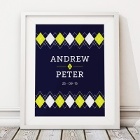 Argyle Personalised Wedding Gift Print