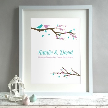 Birds On A Branch Personalised Anniversary Gift Print