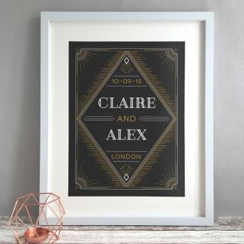 Art Deco Personalised Anniversary Gift Print