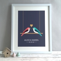 Love Birds Personalised Anniversary Gift Print