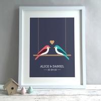 Love Birds Personalised Anniversary Gift Print