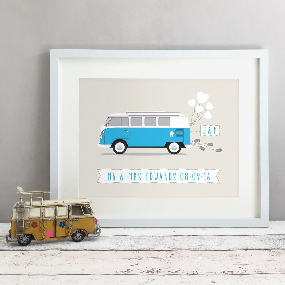 Campervan Personalised Anniversary Gift Print